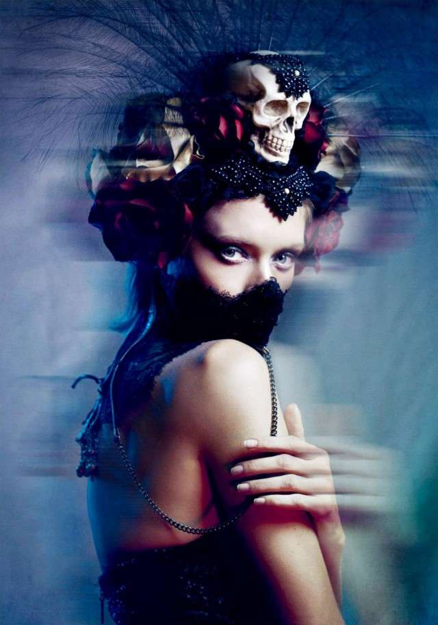 Benjo Arwas - Anastassija Makarenko (Elite Models) - hair Lina Hang - makeup Models to Monsters by Lina Hang - creative director:stylist Jen Summers - assistant Sidney Kraemer Photography - headpiece Miss G Designs - neckpiece Roxy Contin - sequin bus