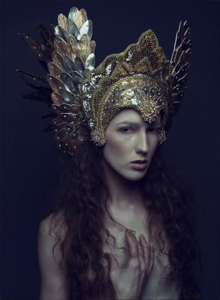 Daniel Jung - Sabrina Rucker - hair:makeup by model - headdress Miss G Designs