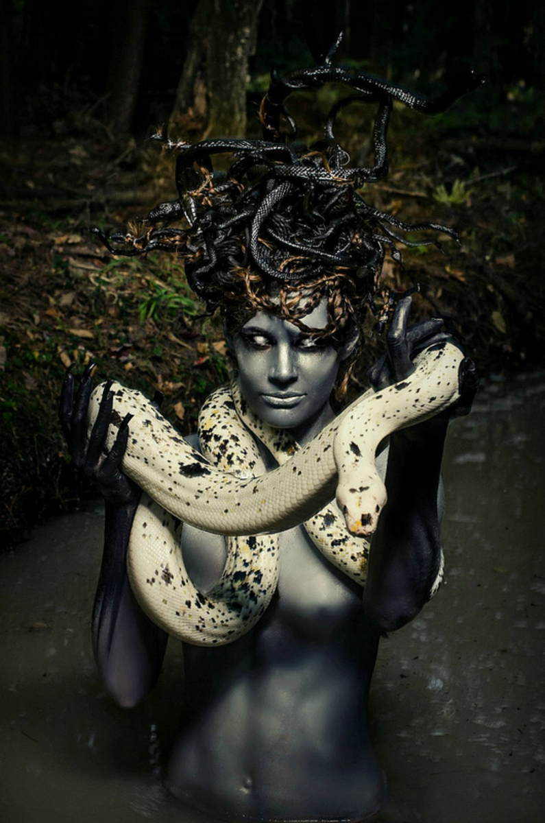 Chloe Barcelou - Hally Sheely - hair Janet Dolan - makeup body paint and headdress by photog - snake New England Reptile - post John Hession - Medusa