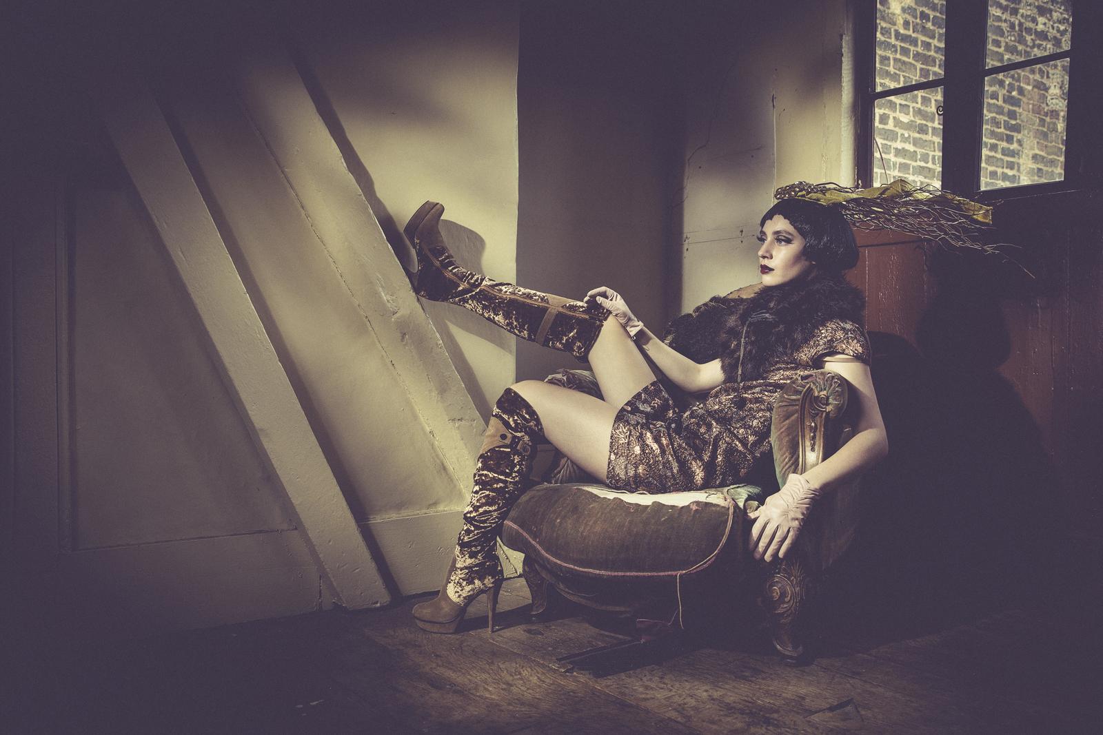Ian Cashman - Magda Swider - hair Anna Romanenkova - makeup Chandni MUA - headpiece Clea Broad - stole Closet Shop - dress and boots are of stylst - stylist Lisa Fifer
