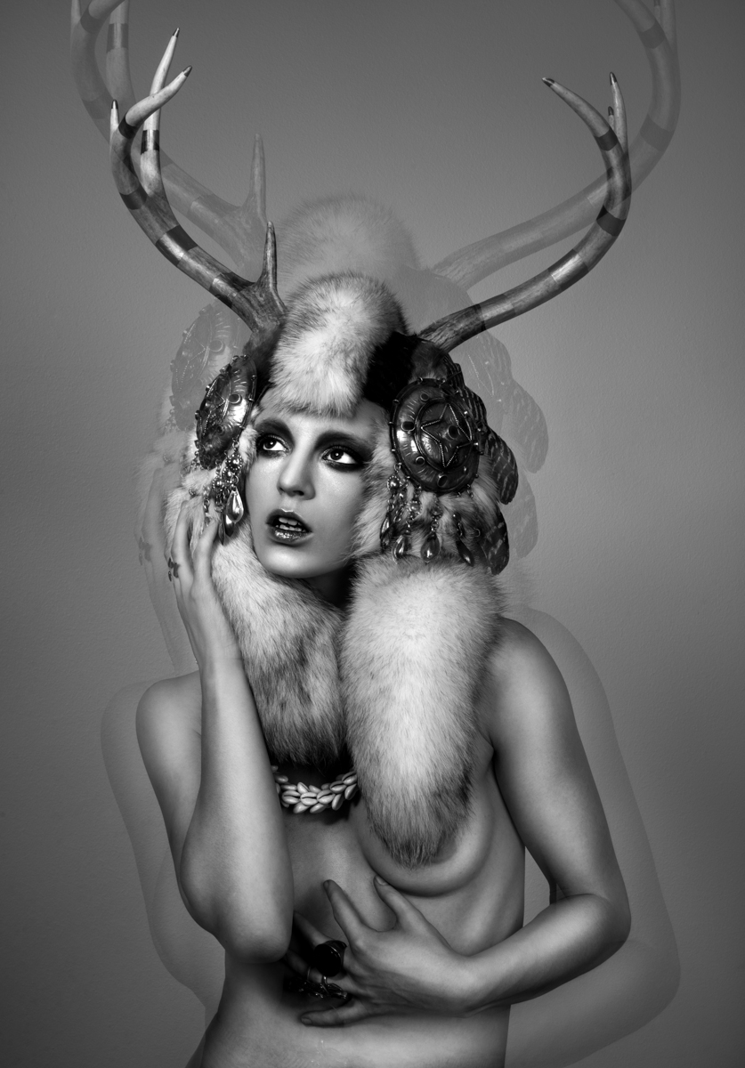 Olivia Lazer - Fox Chalker - makeup Lis Krebs - headdress The Plumed Serpent - Ashes to Ashes
