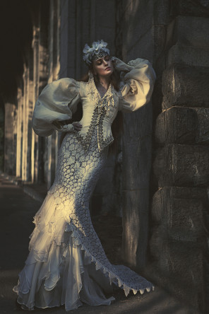 Claudia McDade - Molly Fletcher @ Major Model Management NY - hair makeup Christopher Marcum - stylist Angelina Scantiebury - location The Cloisters NYC