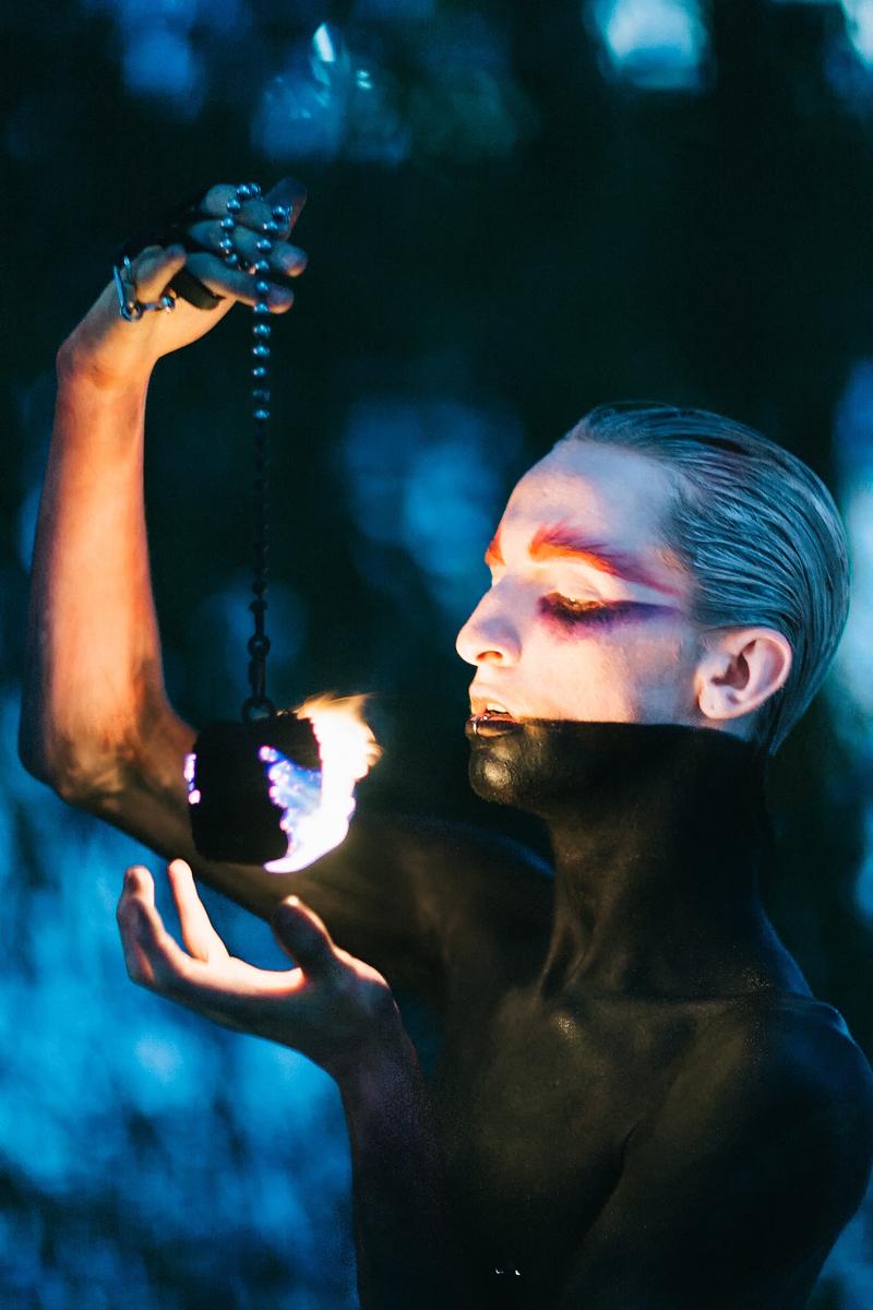 AWPhoto.com.au (ig _awphoto_) - fire twirler Rob James (electronymph) - hmua body paint Katie Saarikko Makeup (ksmakeup.com.au)