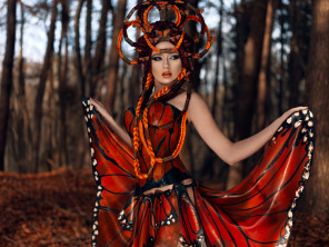 Daniel Hager Photography - Anja Carina Model @ Model Pool - mua Rachel Sigmon Master Cosmetologist - dsg Dawnamatrix Designs - headpiece Posh Fairytale Couture - retouch Edgeworld Retouch - Butterfly