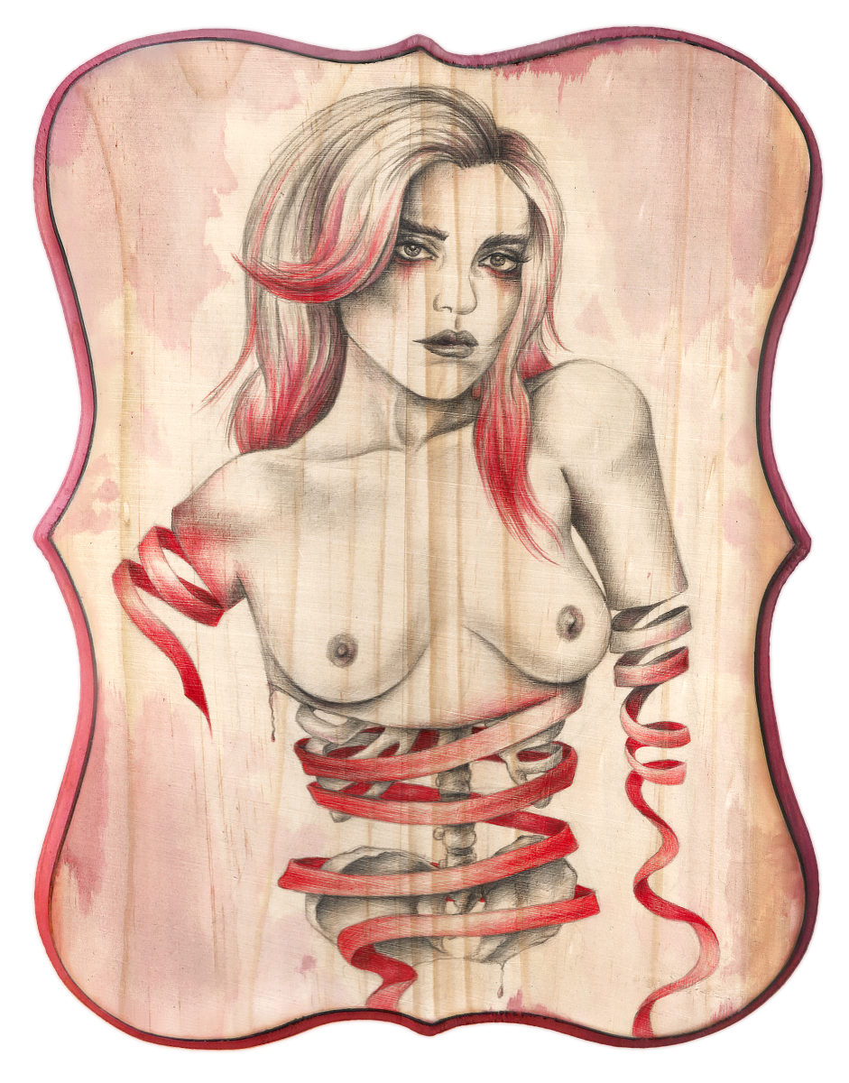 Jen Lightfoot - Rewind - med Graphite, ink, colored pencil on wood