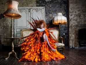 """Firebird""  Model: Kim D  Photography: James P. Goodchild,  Cape, ruff and bodice: National Theatre Choker: Della Reed Shoes: Natacha Marro,  Stylist: Minna Attala,  Hair: Dave Noble,  Makeup: Grace Gray, Production: Miss Aniela"