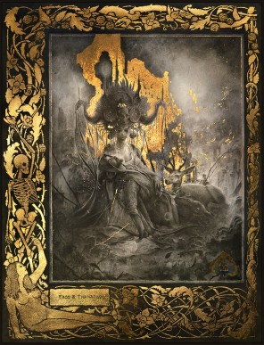 Yoann Lossel (LosselYoann ig yoann.lossel tb yoannlossel g+ 103884743696515444730) - Eros & Thanatos - med graphite, gold leaf and hydrangea petals on paper