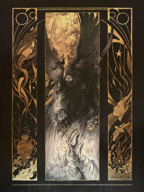 Yoann Lossel (LosselYoann ig yoann.lossel tb yoannlossel g+ 103884743696515444730) - Thanatos - med graphite, gold leaf and hydrangea petals on paper
