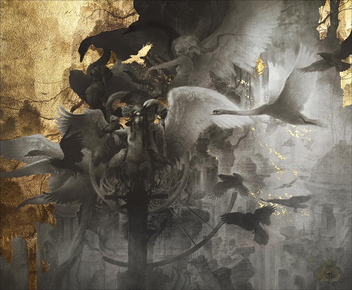 Yoann Lossel (LosselYoann ig yoann.lossel tb yoannlossel g+ 103884743696515444730) - The Fall - med graphite, gold leaf and hydrangea petals on paper