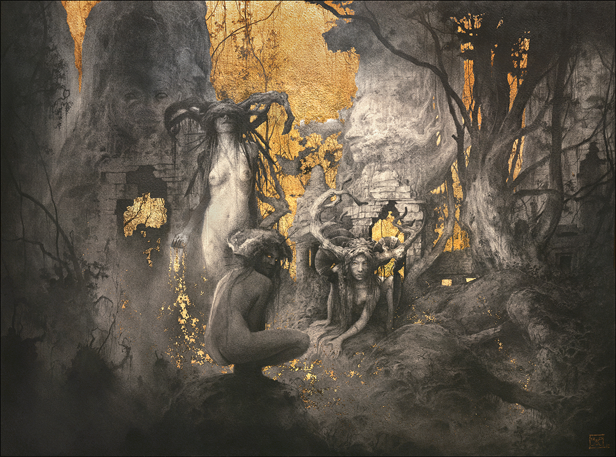 Yoann Lossel (LosselYoann ig yoann.lossel tb yoannlossel g+ 103884743696515444730) - The Golden Age - med graphite and gold leaf on paper