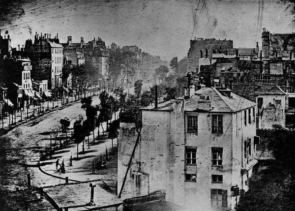 Boulevard du Temples in Paris, circa 1838 by Louis Daguerre