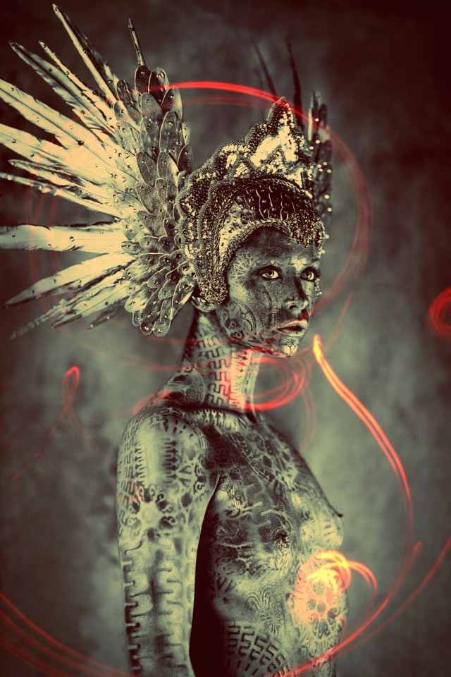 Ash Gupta - headpiece Miss G Designs - body paint Michael Rosner (Eye Level Studio)
