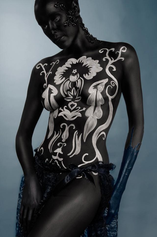 Topher Adam - Ryann Hilairey - body painter Trina Merie